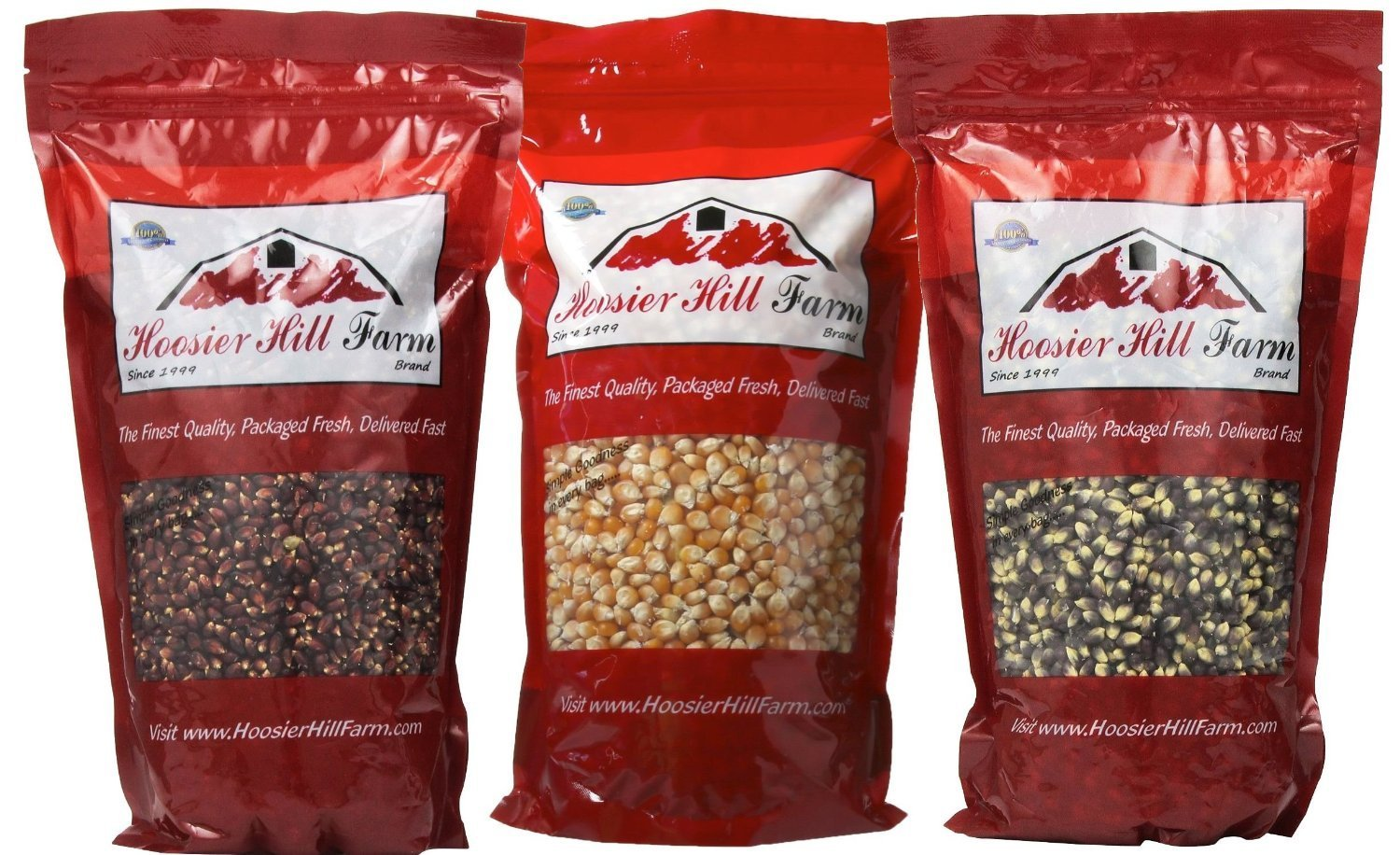 Hoosier Hill Farm All American (Red, White, & Blue) Gourmet Popcorn Set (4.5 lbs)