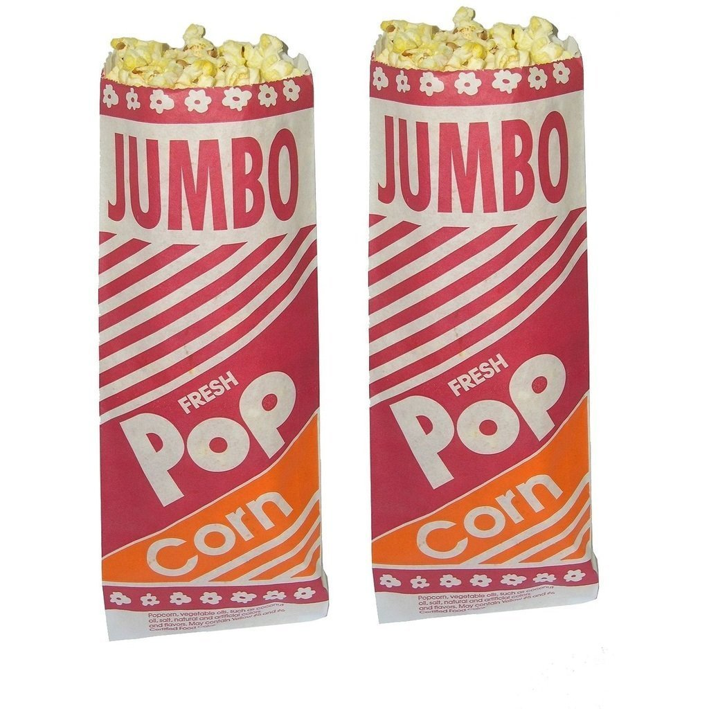 "Hoosier Hill 12"" Jumbo Popcorn Bags 2 oz 100 count"