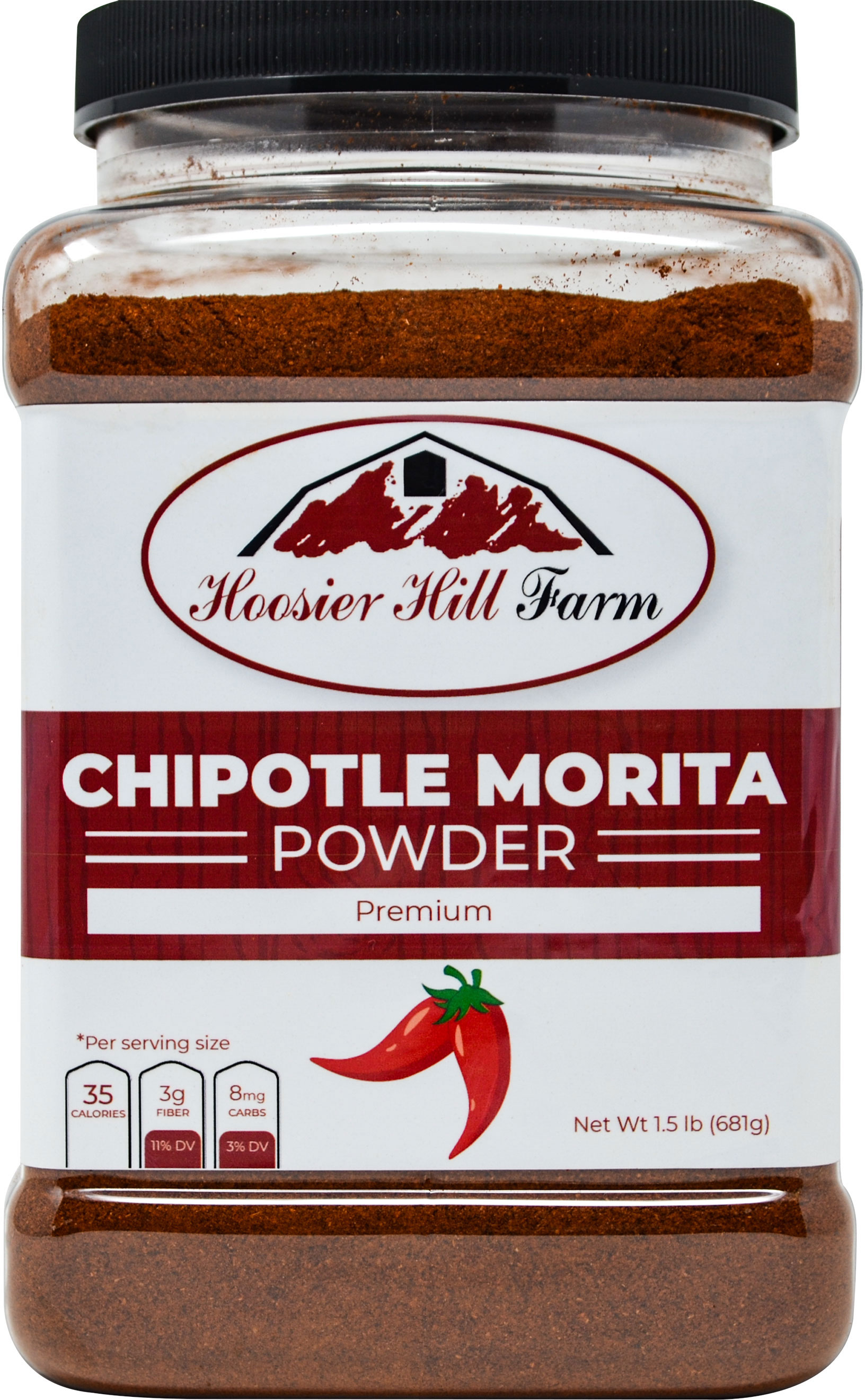 Hoosier Hill Farm Chipotle Morita Powder, 1.5 lbs. Plastic Jar