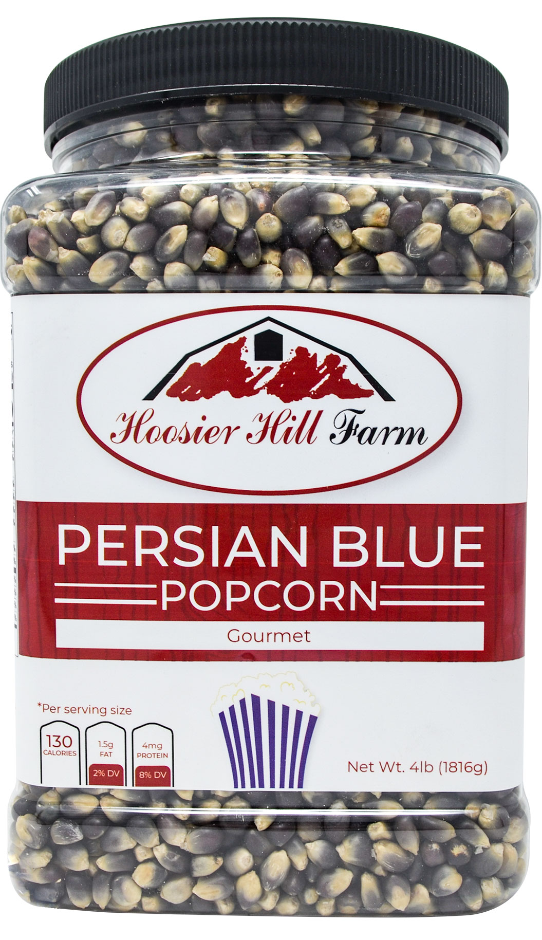 Hoosier Hill Farm Gourmet Persian Blue, Popcorn Lovers 4 lb. Jar.