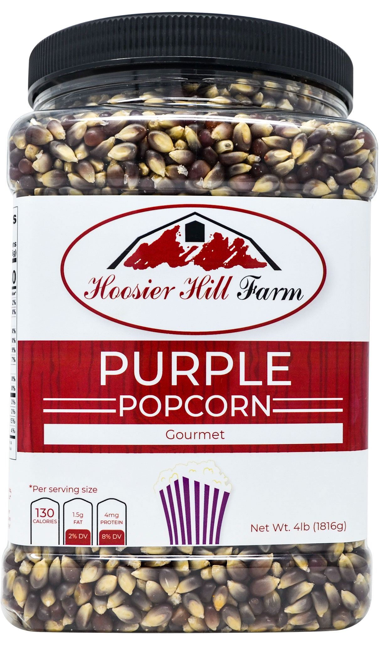 Hoosier Hill Farm Gourmet Purple, Popcorn Lovers 4 lb. Jar.