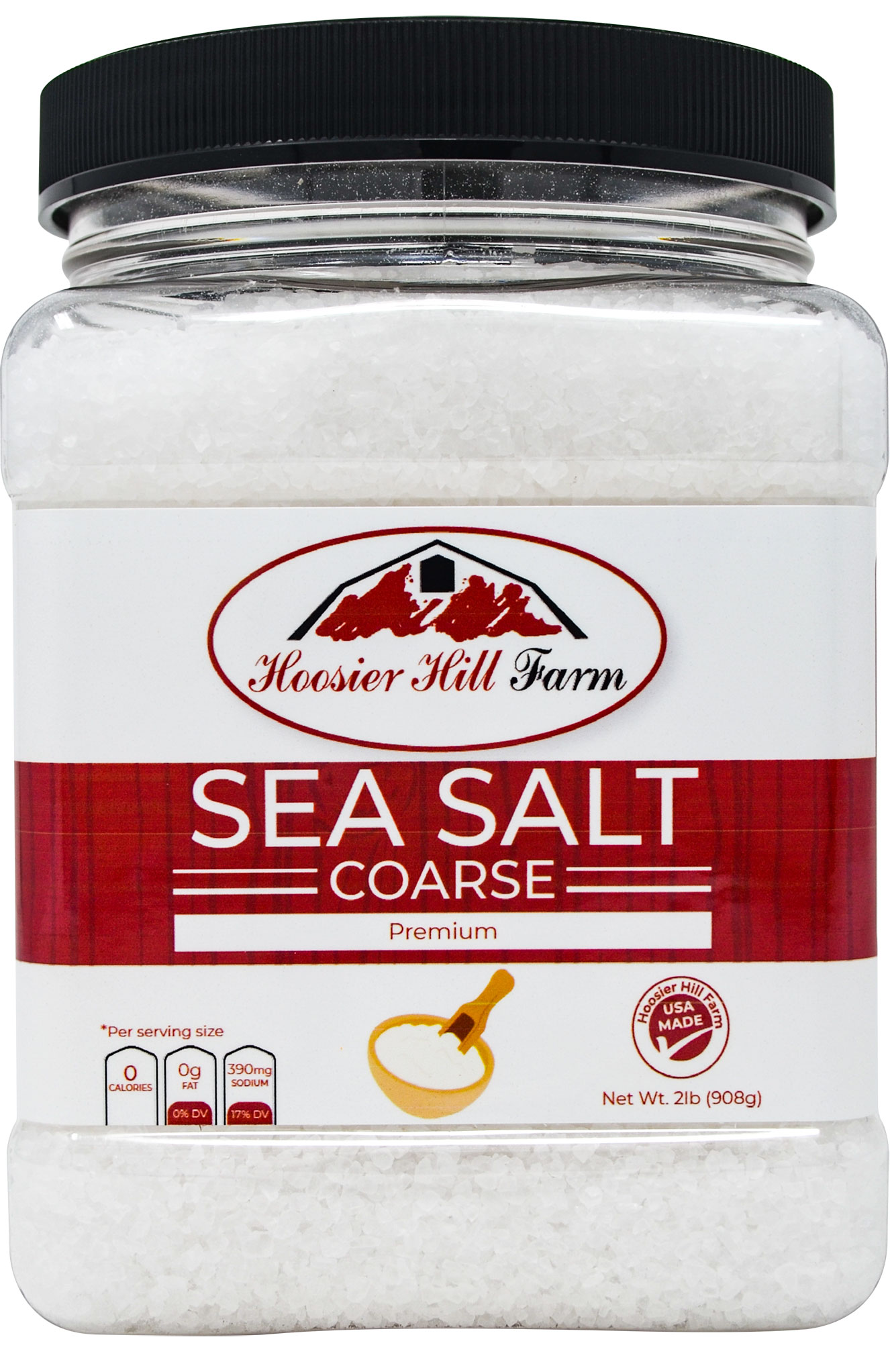 Hoosier Hill Farm Coarse Sea Salt, 2 lb. jar